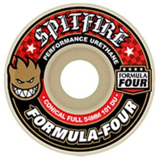RUOTE DA SKATE SPITFIRE F4 FULL CONICAL RED WHITE 54MM 101A