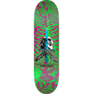 """POWELL PERALTA SKULL AND SWORD 8.0"""" DECK PINK/GREEN"""