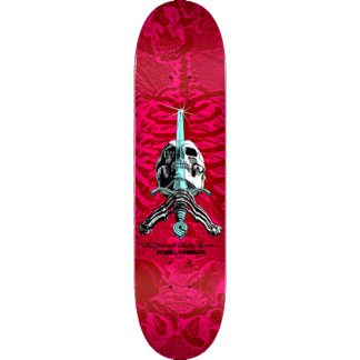 """POWELL PERALTA SKULL AND SWORD 8.5"""" DECK RED/PINK SHAPE 249"""